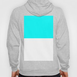 White and Aqua Cyan Horizontal Halves Hoody