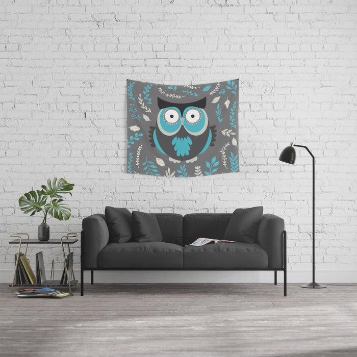BLUE OWL AND LEAVES Wall Tapestry