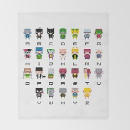 Pixel Supervillain Alphabet 2 Throw Blanket