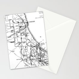 Vintage Map of The Chicago Railroad Network (1913) Stationery Cards