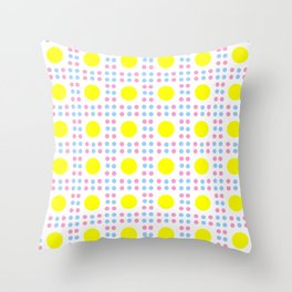 new polka dot 10 - Pink, blue and yellow Throw Pillow