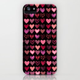 Many hearts on black iPhone Case