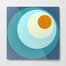 Wala - Classic Colorful Blue Orange Abstract Minimal Retro 70s Style Dots Design Metal Print