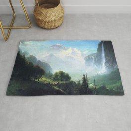 Staubbach Falls Near Lauterbrunnen Switzerland By Albert Bierstadt   Reproduction Painting Rug