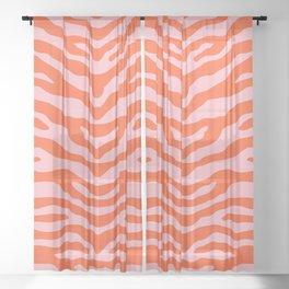 Zebra Wild Animal Print Orange and Pink Sheer Curtain