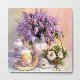 Paul de Longpre, Lilacs and Roses Metal Print