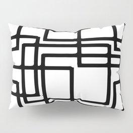 Interlocking Black Squares Artistic Design Pillow Sham