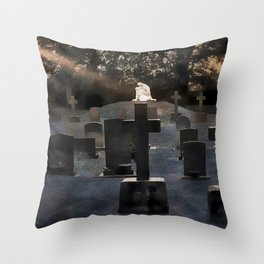 Gravestones and statue Throw Pillow
