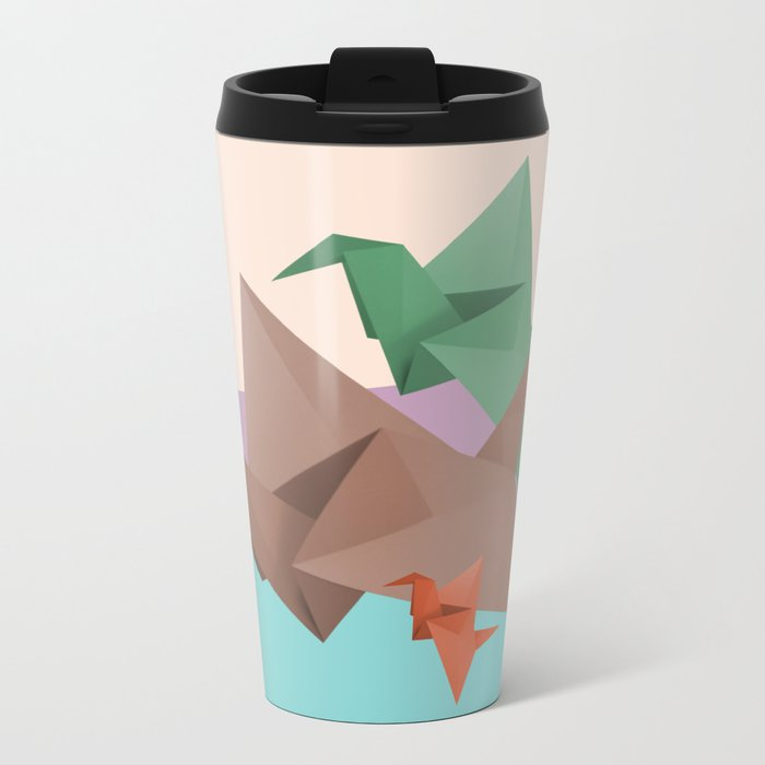 PAPER CRANES (Origami abstract birds animals nature) Metal Travel Mug