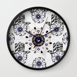 Mandala Evil Eye Hamsa Hand Wall Clock