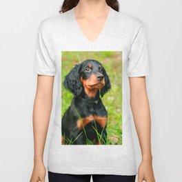 Gordon Setter Attentive Black Dog Puppy Unisex V-Neck