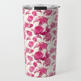 Beautiful Pink Australian Native Flowers on Gold Polka Dots - Protea, Grevillea, Eucalyptus Travel Mug