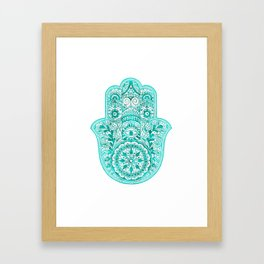 Turquoise Watercolor Hamsa Hand Framed Art Print