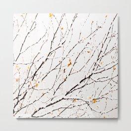 Snowy birch twigs and leaves #decor #society6 #buyart Metal Print