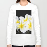 singapore Long Sleeve T-shirts featuring Plumeria obtusa Singapore White by Sharon Mau