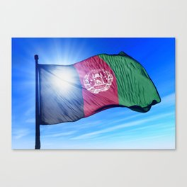 Afghanistan flag waving on the wind Canvas Print
