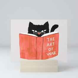 Cat reading book Mini Art Print