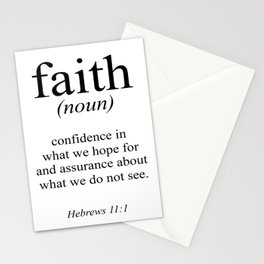 Hebrews 11:1 Faith Definition Black & White, Bible verse Stationery Cards
