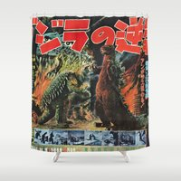godzilla Shower Curtains featuring Godzilla by Golden Boy