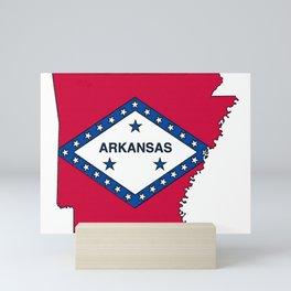 Arkansas Map with Arkansan Flag Mini Art Print