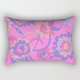 Bold Tropical Floral in Neon Pink + Purple Rectangular Pillow
