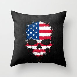 Flag of The United States on a Chaotic Splatter Skull Throw Pillow