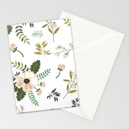 Winter floral - snowy blush petals Stationery Cards