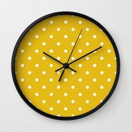 Mustard Yellow Small Polka Dots Wall Clock