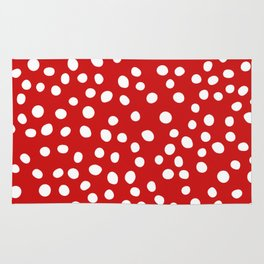 Red and white doodle dots Rug