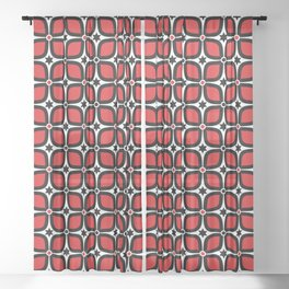 Mid Century Modern 4 Leaf Clover - Black, White, Red Sheer Curtain