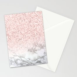 Pretty Rosegold Marble Sparkle Stationery Cards