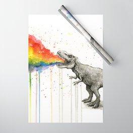 T-Rex Dinosaur Vomits Rainbow Wrapping Paper