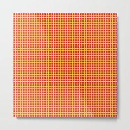 Yellow On Pink Grid Metal Print