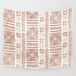 Line Mud Cloth // Ivory & Burgundy Wall Tapestry