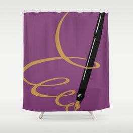 Vintage retro style German Gold Fountain Pen advertising Shower Curtain