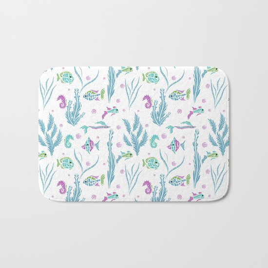 Sea , fish , seaweed , baby pattern . 2 Bath Mat