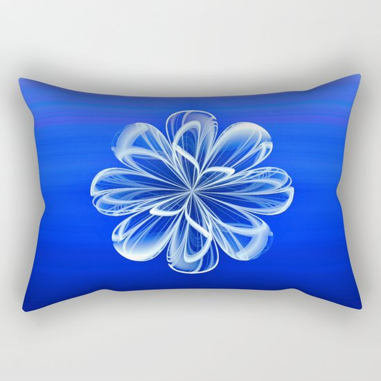 White Bloom on Blue Rectangular Pillow