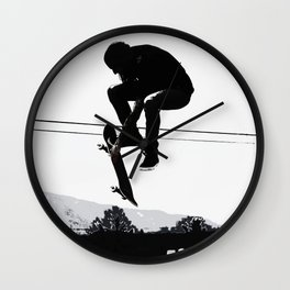 Flying High Skateboarder Wall Clock