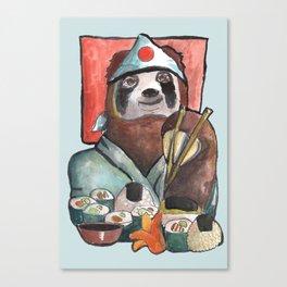sloth eating sushi Canvas Print