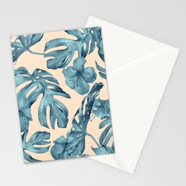 Island Vacay Hibiscus Palm Pale Coral Teal Blue Stationery Cards