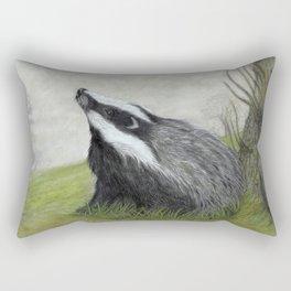 Misty Morning Badger Rectangular Pillow