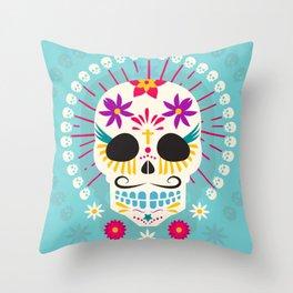 Dios De Los Muertos Day of the Dead Sugar Skull Fiesta Throw Pillow