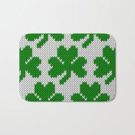 Shamrock pattern - white, green Bath Mat