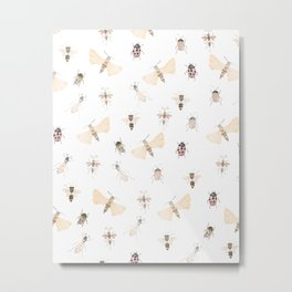 Insects and Bugs Pattern Metal Print
