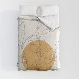 Yellow Sun and Flowers / Minimalist Line `Art  Comforters