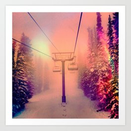 Technicolor Chairlift Ride Art Print
