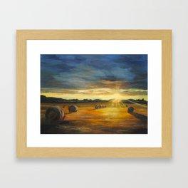 Sunset over field Framed Art Print