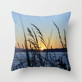 Sunset Sea Grass Throw Pillow