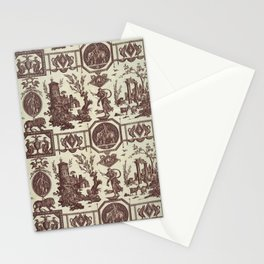 French toile brown 1802 Stationery Cards