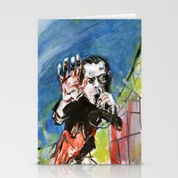 nick cave Stationery Cards featuring Nick Cave Red Right Hand by Caitlyn Shea